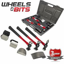 7 PC AUTO BODY PANEL Repair Tool Kit con fibra di vetro MANIGLIE pestaggio MARTELLI
