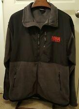 NRA Life Member Fleece Jacket 3XL XXXL Black Grey Full Zipper Pockets Gun Rifle