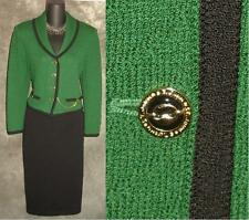 BEAUTIFUL St John collection jacket green black knit suit blazer size 2