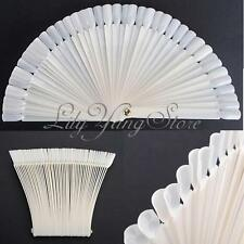 50X Bianco Ventaglio Nail Art Unghie Gel UV Sticks Tips Display Espositori Porta