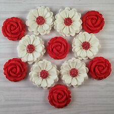 12 Red Rose edible sugar paste flowers cake decorations topper valentines