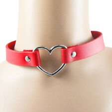 Collar Punk Goth Heart Choker Necklace Harajuku Handmade PU Soft Leather Chain