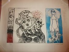 1975 CORNEILLE Rare Etching Features Woman, Cats, Dog; Edition of 50