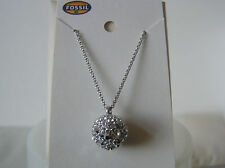 Fossil Brand Silver Tone Stainless Steel Star Night Pave Pendant