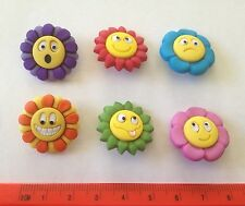 Multicoloured flowers with funny faces Novelty Dress It Up buttons    6968