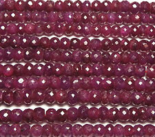 "16"" Strand Genuine RUBY 4-4.5mm Faceted Rondelle Beads /d3"