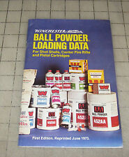 1973 Winchester Western BALL POWDER LOADING DATA Booklet