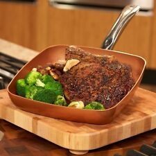 """Copper Chef Square 9.5"""" Titanium Ceramic Fry Pan Stainless Steel Induction Plate"""