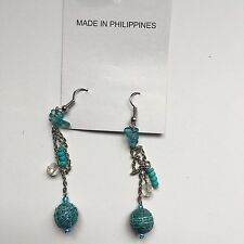 Fashion Jewelry Handcrafted Blue Dangling Earrings Basket Weave Ball Design