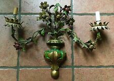 Vintage Italian Shabby Chic Floral  Flowers Tole WALL SCONCE  Italy