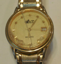 Rare C.A.T date watch,missing crown & cracked crystal,good quartz movement  M702