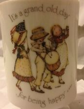 1974 WWA Holly Hobbie Its a grand old day for being happy Porcelain Pedestal Mug