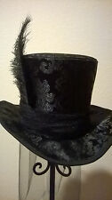 "ELEGANT BLACK BROCADE TOP HAT-OSTRICH FEATHER,VEIL-M/L 22.5-23"" or 7 1/4-7 3/8"