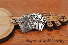 10s 13*25mm charm playing card pendant DIY Jewelry Bracelet Tibet Silver 7230