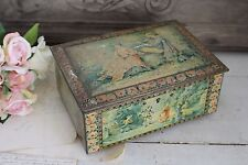 Vintage French Tin Box with Mirror in Lid