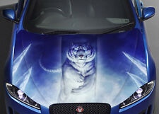 White Tiger Car Hood Wrap Full Color Vinyl Sticker Decal Fit Any Car