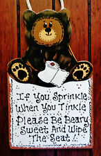 BEAR Sprinkle Tinkle Bath Bathroom SIGN Wall Plaque Rustic Country Decor Camping