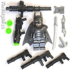 BM005Aw Lego Batman Minifigure Armored with Mess Weapons - Pearl Gray 76044 NEW