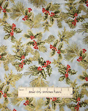 Robert Kaufman Christmas Holiday Flourish Holly Berry Frost Cotton Fabric YARD