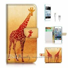 iPod Touch 6 iTouch 6 Flip Wallet Case Cover P2716 Giraffe