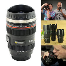 Camera Lens Cup Stainless Steel Thermos 24-105 Coffee Tea Travel Mug  & Lens Lid