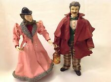 Clothtique by Possible Dreams 1988 Man & Woman Christmas Caroler in Pink Dress