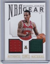 2012-13 National Treasures NBA Gear Brandon Jennings 03/99 Jersey Numbered 1/1