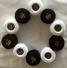 10 ANCHOR Pearl Cotton Balls ( 5 White + 5 Black ), Size 8,85 Meters each