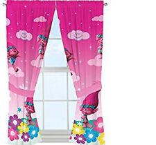 Dream Works Trolls Girl Window Panels Drapes Curtains 2 panels 2 tiebacks new
