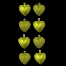 Pack of 8 Lime Green Heart Christmas Tree Bauble Pendant Decorations