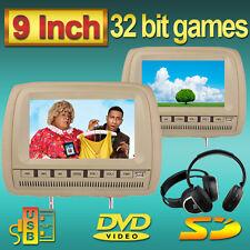"2x9"" SD HD Voiture CD Lecteur DVD Oreiller Moniteur appuie-tête Jeu FM Casque IR"