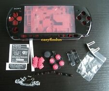 for PSP 3000 Slim Full Housing Case special edition button screw door black red