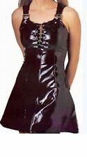 Sexy Black Glossy Faux Latex Dress Straps With Buckles Chain Lace Up Front