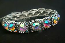 Thin Iridescent Silvertone AB Square shape crystal round stones stretch Bracelet