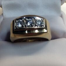 3 Diamond .84 Yellow Gold Men's Ring Modern (j385)