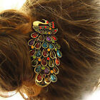 Vintage Colorful Crystal Peacock Hairpin Crystal Fether Tail Peacock Hairband