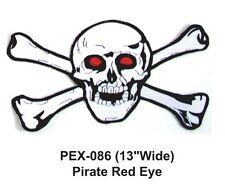 """PIRATE RED EYE Embroidered Military Extra Large Patch (13""""WIDE)"""
