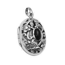 925 Sterling Silver High Polished Plain Oval Onyx Design Locket Pendant