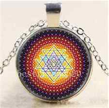 Energy Healing Infused Cabochon Glass Tibet Silver Chain Pendant  Necklace