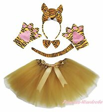 Halloween Party Adult Women Yellow 3D Tiger Headband Paw Tail Bow Skirt Costume