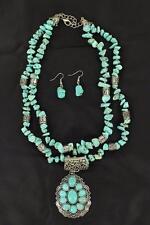 M&F Western Womens Jewelry Necklace Earrings Teardrop Stone Turq 30444