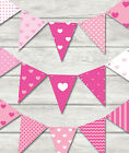 PINK HEARTS BUNTING - CHILDREN'S PLAY ROOM / BEDROOM / BIRTHDAY-18 FLAGS!!