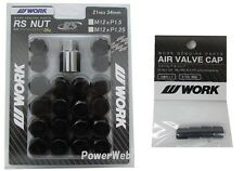 WORK Lug Lock nuts set for 5H 12x1.25 and 4pcs Air Valve caps Black Value set