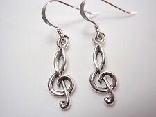 Small Treble Clef Earrings 925 Sterling Silver Dangle composer music musician