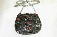 Metal & Agate Stone Handbag/Purse SAJAI EVENING BAG Handcrafted in India