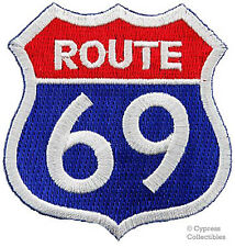 ROUTE 69 iron-on PATCH - SEXY BIKER MOTORCYCLE SIGN 66 embroidered PARODY FUNNY