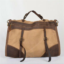 Vintage Retro military Canvas Leather Men Travel Sport Bags Men Weekend Luggage