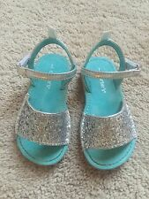Carter's Toddler Girl Size 7 Silver Sandals Summer Shoes Glitter Sparkle