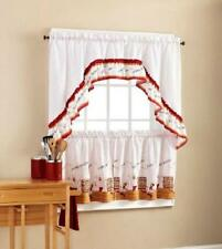 FAT CHEF BISTRO Red White KITCHEN CURTAINS TIERS & SWAG VALANCE SET