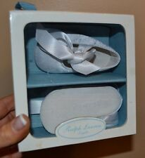 Ralph Lauren size 1 white satin and leather Briley baby shoes